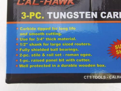 """3pc TUNGSTEN CARBIDE RAISED PANEL CABINET DOOR ROUTER BIT SET 1//2/"""" SHANK"""