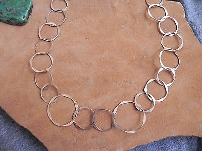 "Sterling Silver hand made Links Necklace 19"" by JB Navajo"