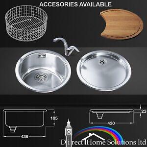 Smeg Alba 10I3P/11I Round Kitchen Single Bowl Sink, Drainer, Basket ...