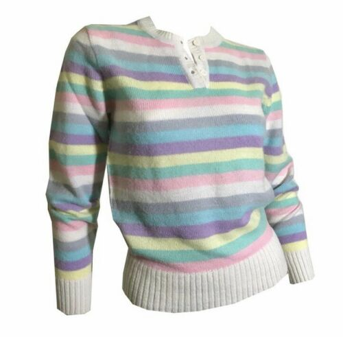 True Vintage 1970s Sweater Pastel Rainbow Stripes