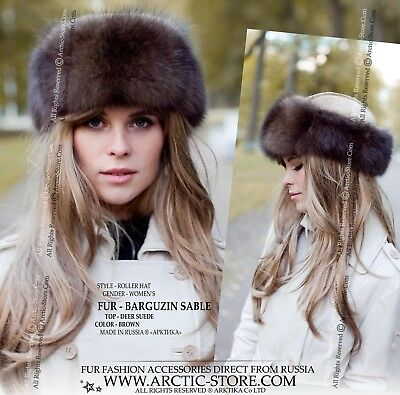 1dc7c8a4c32d3 Barguzin Sable Russian Hat Shapka Roller Queen Style Deer Golden Suede Top  | eBay