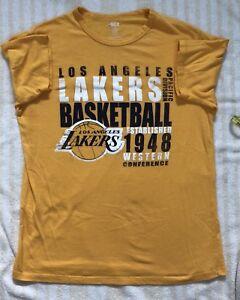 new style 41485 06c59 Details about Los Angeles Lakers Basketball Logo Sportswear Yellow T-Shirt  Sz L Lebron Lonzo