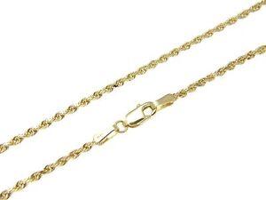 2mm Solid 14k Gelbgold Diamantschliff Schnur Kette 55.9cm SchüTtelfrost Und Schmerzen Halsketten & Anhänger