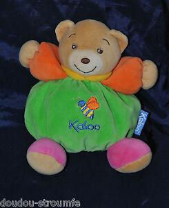 Peluche-Doudou-Ours-Boule-Vert-Bras-Orange-Abeille-KALOO-1998-Col-18-Cm-TTBE