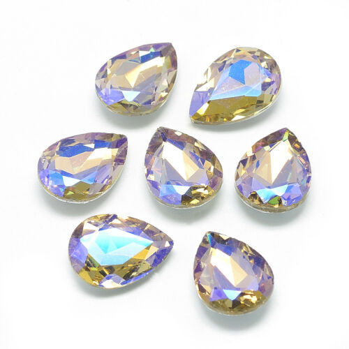 50PCS Pointed Back Glass Rhinestone Cabochons For DIY Craft Making Faceted Drop