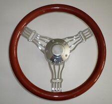 """14"""" Light Mahogany & Billet Aluminum Banjo Steering Wheel, Horn & Hub Adapter"""