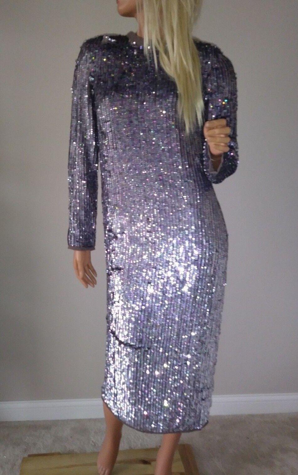 Nouveau ASOS Super Heavy Premium Huile Paillettes Ombre Maxi robe de bal robe de 4 US