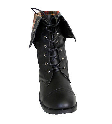 Womens Combat Boots Lace Up & zipper Military Army Biker Flat Heel Snaps Closure
