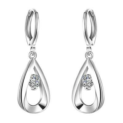 Conscientious Silver Plated Clear Zircon Tear Drop Hoop Dangle Earrings Gl Earrings Jewelry & Watches