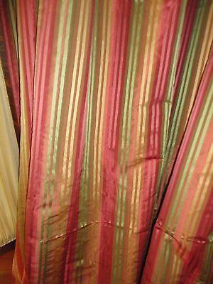 RODEO HOME GOLD GREEN RUST RIBBON STRIPE (PAIR) FABRIC PANELS 54 X 88