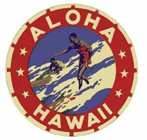 Hawaii Surfer Vintage-Style Travel Decal Sticker Label  Surfing Honolulu