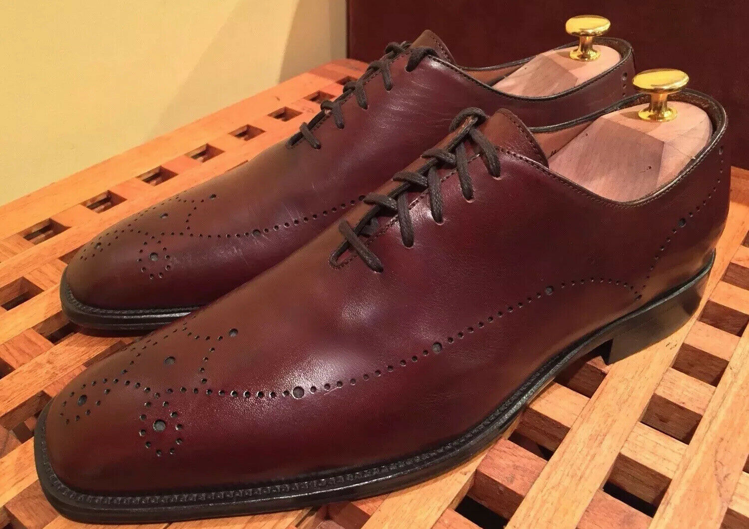 Johnston and Murphy Burgandy Lace Up Dress Shoes Handcrafted In ITALY 10.5 M