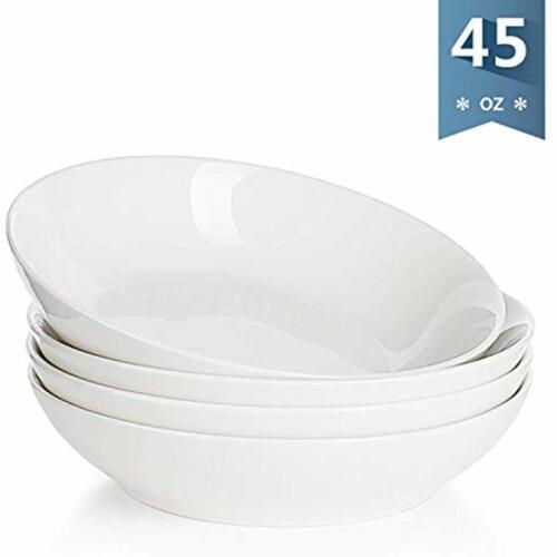113.101 Pasta Bowls Porcelain Large Salad 45 Ounce 1.3 Quart Set Of 4 White