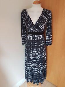 ladies-PER-UNA-dress-size-10-black-white-LONG-TALL-stretch