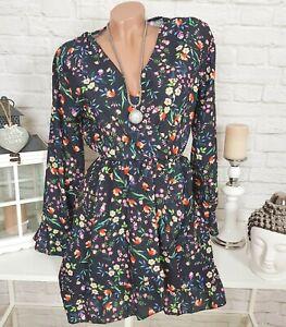 7f26b8f201e Das Bild wird geladen Volant-Blumen-Kleid -Chiffon-Minikleid-Wickeloptik-gebluemt-Voegel-