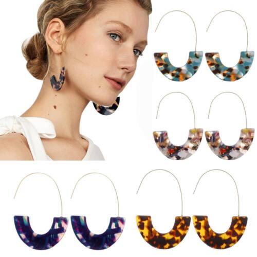 Leopard Grain Multi-Color Big Hook Acrylic EarringsSemicircle Resin Drop Earring