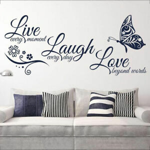 Details About Funny Live Laugh Love Quotes Butterfly Wall Stickers Art Room Decal Home Decor