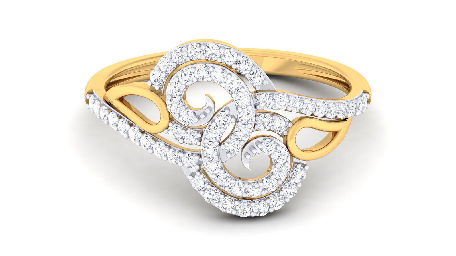 Pave 0.40 Cts Natural Diamonds Anniversary Ring In Fine Hallmark 18K Yellow gold