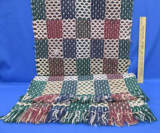 "Woven Tapestry  Plaid Area Rugs Green Blue Burgundy Squares 36"" x 18""  Lot of 2"