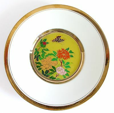 """THE ART OF CLOISONNE  Flowers & Butterflies 7.75"""" (19.8 cm) Plate Made in Japan"""