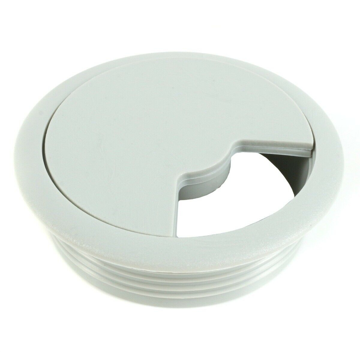 GREY CABLE TIDY 60mm Office Desk Wire Lead Cord Outlet Surface Cover Organiser