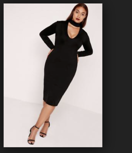Details about Missguided Choker Tab Neck Lonhline Bodycon Dress Black PLUS  Size US 16 NEW NWT