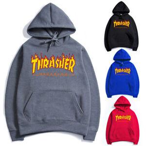 4e358d1b7507 2018 Men Women Hip-hop Hoodie Basic Skateboard Thrasher Sweatshirts ...