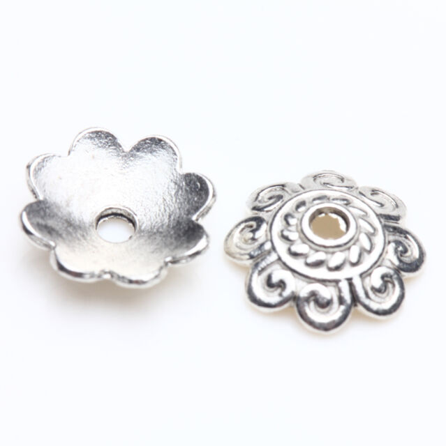 Wholesale Tibet Silver Metal Loose Spacer Bead Flower Caps Jewelry Finding DIY