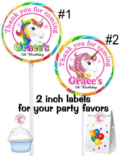 20 RAINBOW UNICORN BIRTHDAY PARTY FAVORS STICKERS LABELS for your party favors