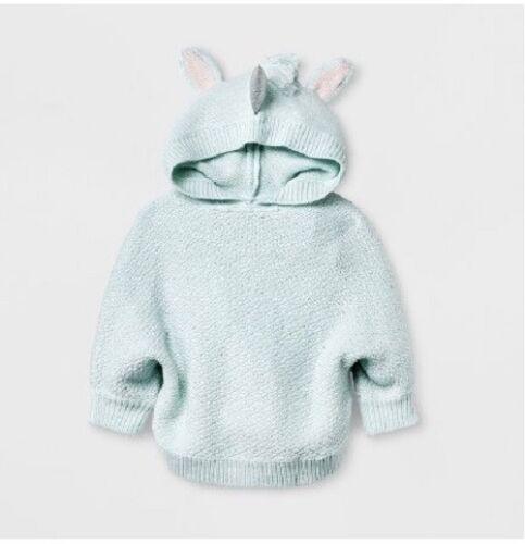 Girls/' Unicorn Pullover Long Sleeve Sweater Cat /& Jack Bleached Aqua 4T//5T