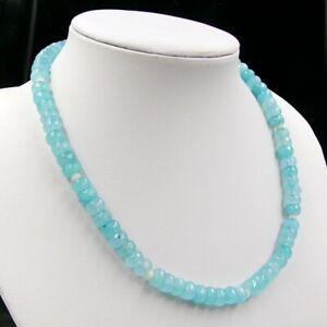BAILYSBEADS edle Aquamarin & weiss Jade Collier Halskette Necklace 45cm
