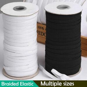100/200 Yards Braided Elastic Band Cord Knit 3/5/6/8/10/12mm Stretch DIY Sewi TR