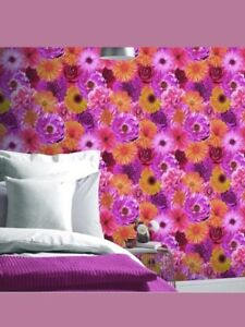 2-Rolls-Arthouse-Foil-in-Bloom-Flower-Pattern-Wallpaper-Floral-Metallic-Vinyl