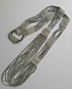 Stunning-RARE-Antique-1920s-Flapper-Party-Necklace-Silver-Metal-Tube-Glass-Beads