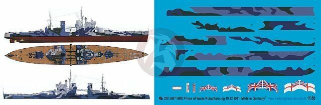 Peddinghaus 1 350 HMS Prince of Wales Battleship Markings with Camouflage 3487