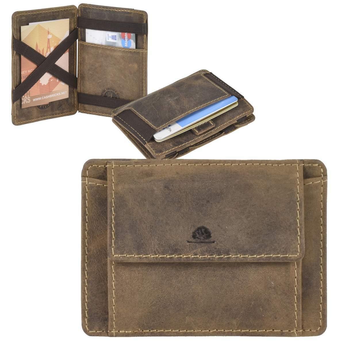 Greenburry Magic Wallet Minibörse Geldbörse Leder braun mit Münzfach 10x7cm