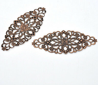New 30 Copper Tone Filigree Flower Wraps Connector 8x3.5cm