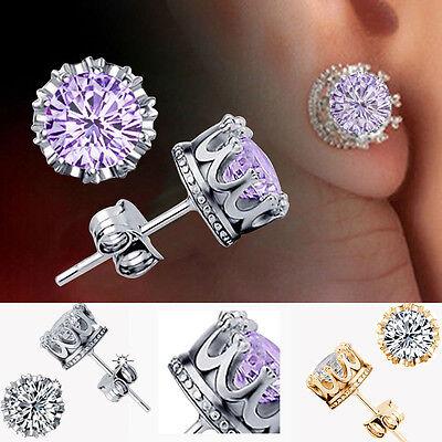 Charm Women Elegant Silver Crystal Rhinestone Crown Ear Stud Earrings