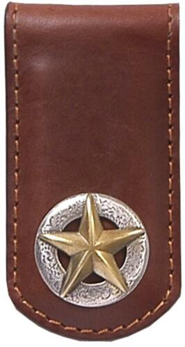 3D Western Money Clip Leather w// Star Concho Tan MC171