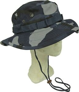 Sky-Blue-Camouflage-Bush-Hat-Boonie-Cap-Giggle-With-Neck-Strap-Cotton-All-Sizes