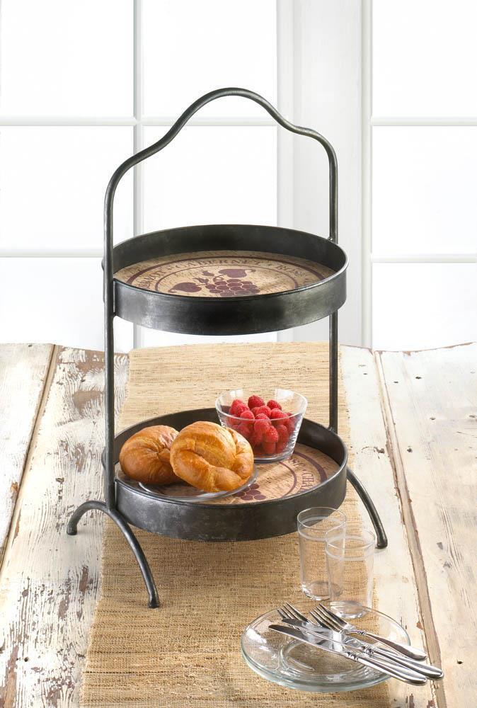 Metal 2 tier wine cheese serving platter basket bowl kitchen shelf pot buffet