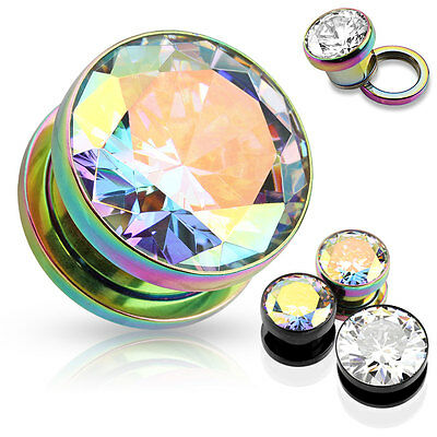 PAIR Large Clear or AB Gem Titanium IP Screw Fit Tunnels Ear Plugs Earlet Gauges