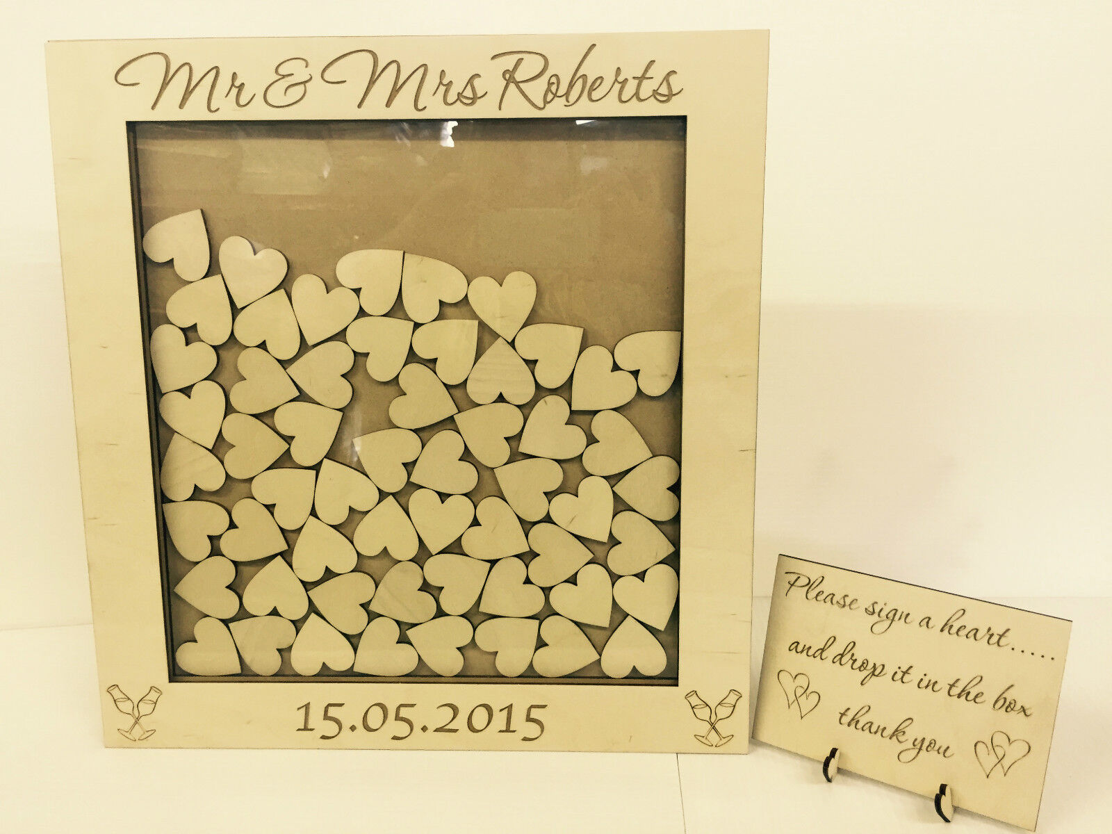 Personalised wedding guest book heart drop box wooden 76 hearts keepsake gift