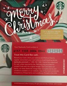 "2018 STARBUCKS ""MERRY CHRISTMAS"" GIFT CARD #6157 MINT NO ..."