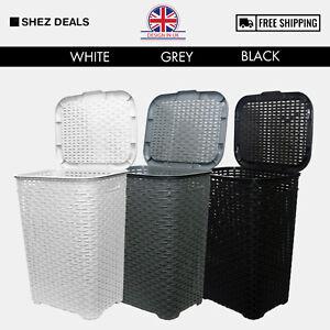 60L-Large-Laundry-Basket-Washing-Clothes-Storage-Bin-With-Lid-Grey-White-Black