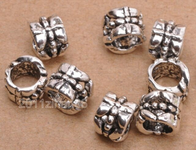 50pcs 8mm Silver//Gold Alloy Frosted Carved Round Big Hole Spacer Loose Beads