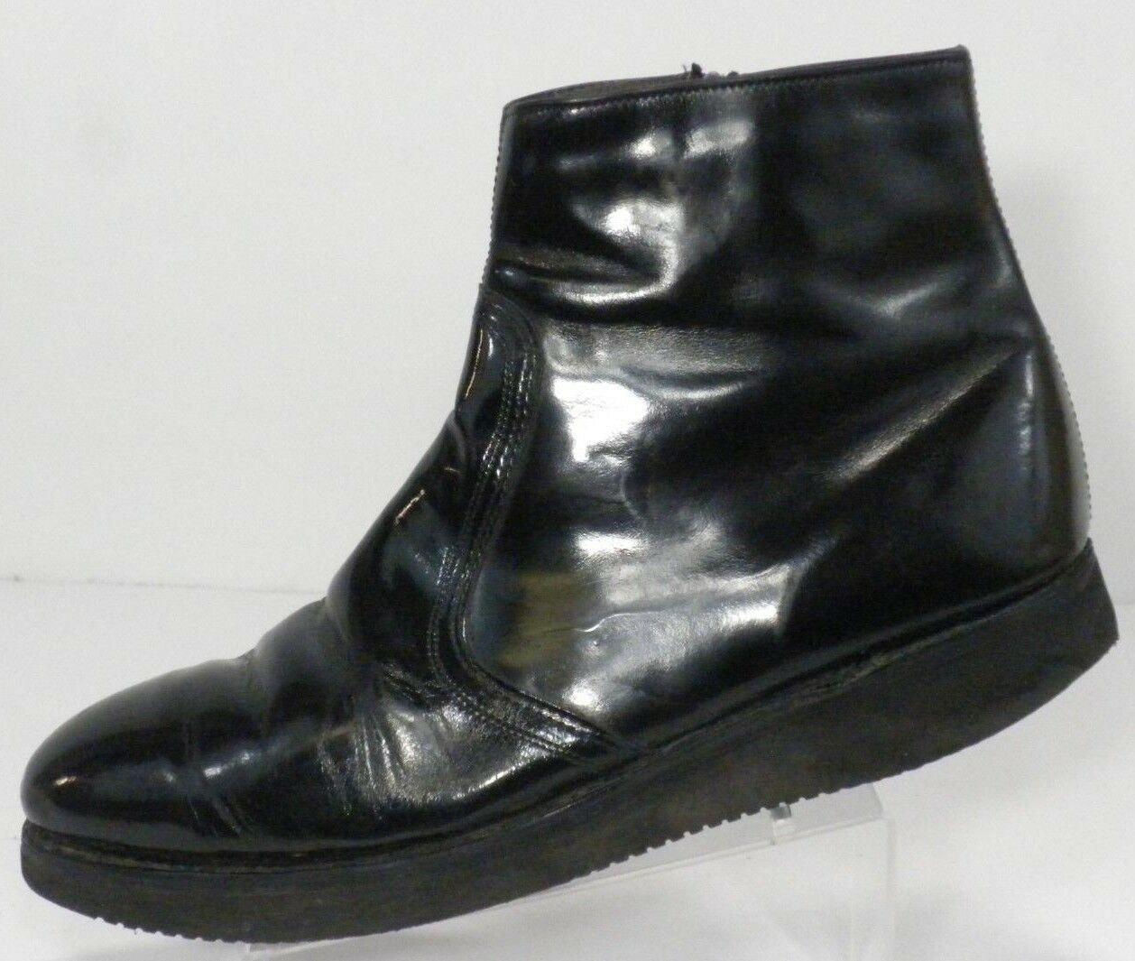 Lehigh Mens Ankle Boots U.S. 11 D Black Leather Side Zip Vibram Sole