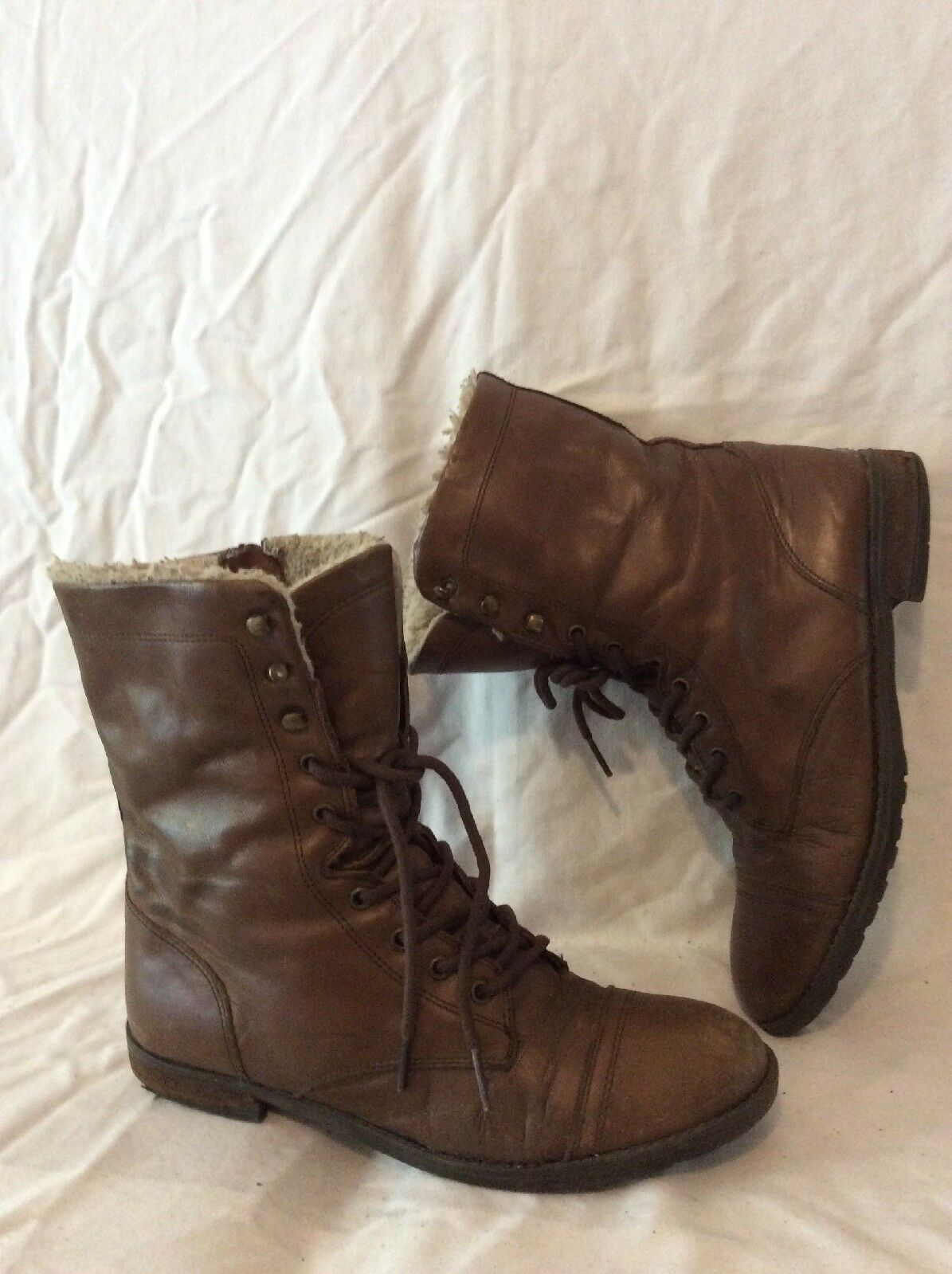Alpe Brown Mid Calf Leather Boots Size 38