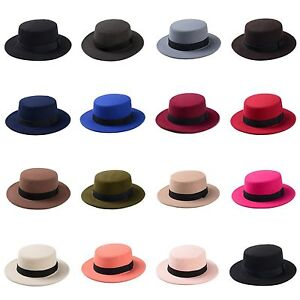 Women Wool Blend Boater Hat Wide Brim Bowler Cap Flat Prok Pie ... 35c058e9ffc