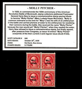 1928-MOLLY-PITCHER-646-Block-of-Four-Vintage-Mint-U-S-Postage-Stamps